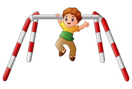 Vector illustration of Little boy doing pull ups exercise Illustration