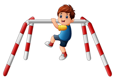 Vector illustration of Little boy doing pull ups