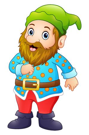 Vector illustration of Cartoon happy gnome