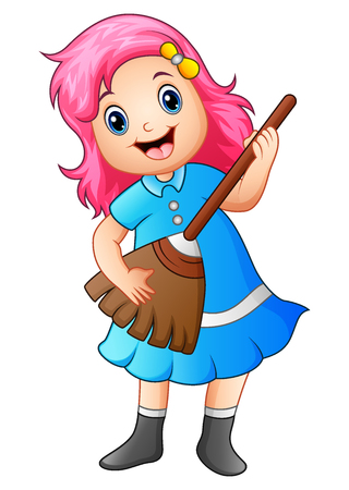 A Vector illustration of Girl playing broom and singing.