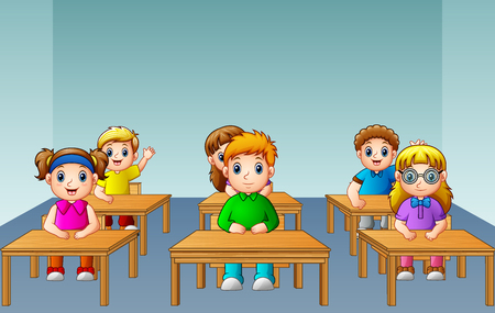 Vector illustration of School kids studying in classroom Illustration