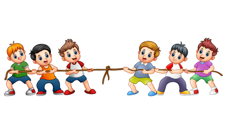 Vector illustration of Group of children playing tug of war