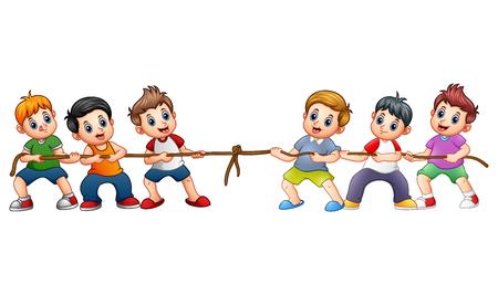 Wektorowa ilustracja grupa dzieci bawić się zażartą rywalizację