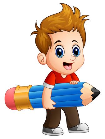 niño parado: Vector illustration of Little boy holding a big pencil Vectores