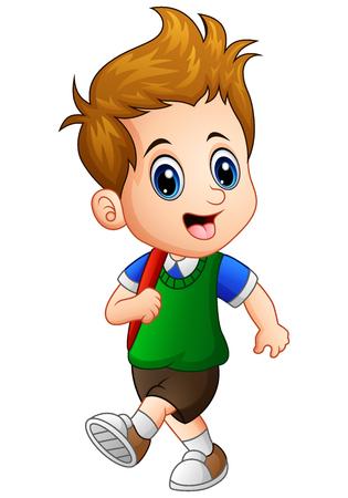 Vector illustration of Cute little boy go to school