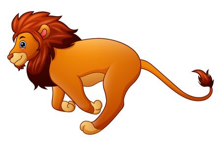 Cute lion cartoon running Stock Photo
