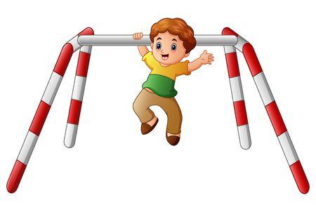 Little boy doing pull ups exercise