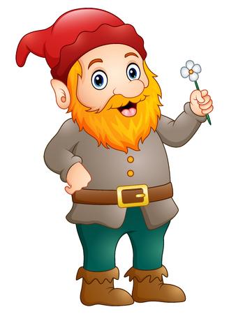 Cartoon happy gnome holding a flower Stock Photo
