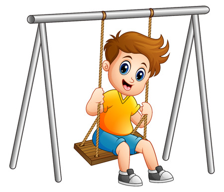 Cute boy jouant sur la balançoire Banque d'images - 84007839