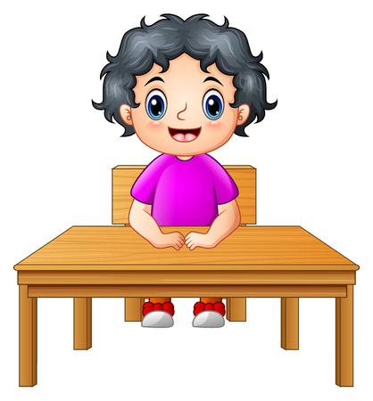 zapatos escolares: Cute niña sentada en el escritorio Foto de archivo