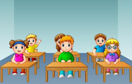 School kids studying in classroom Stock Photo