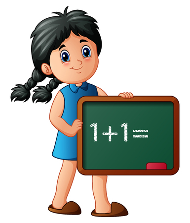 Illustration of Girl holding board with numbers Illustration