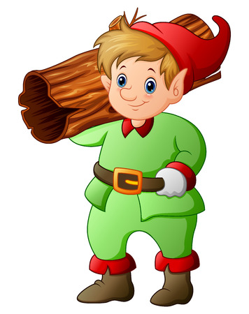 Illustration of Garden gnome with hollow log