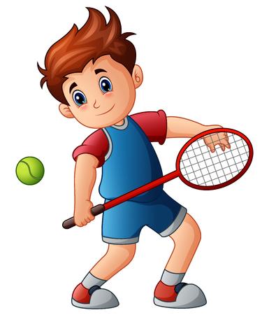 Cartoon boy playing tennis Illustration