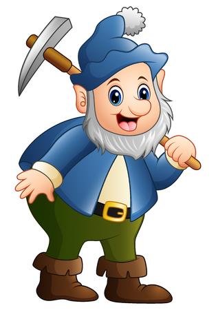 mythological character: Vector illustration of Happy dwarf miner Illustration