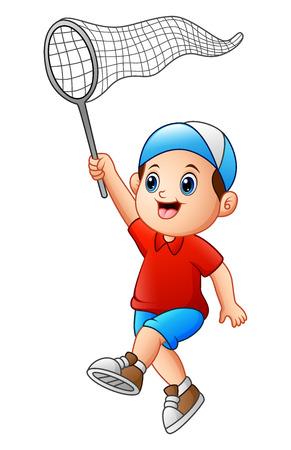 A boy with a net. Illustration