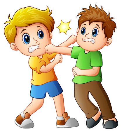두 소년이 싸우고있다. 일러스트