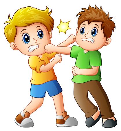 Twee jongens vechten.