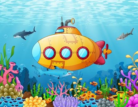 Submarine underwater illustration. 矢量图像