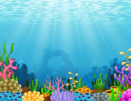 Vector illustration of Underwater scene with tropical coral reef Иллюстрация