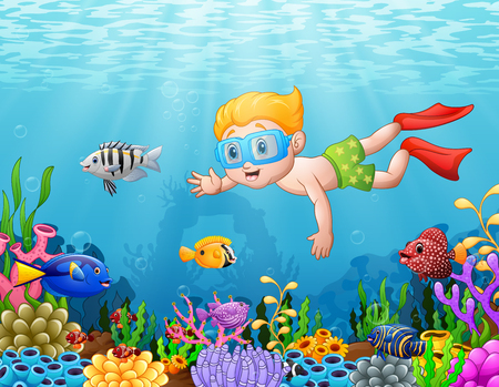 Vector illustration of Little boy diving in the sea