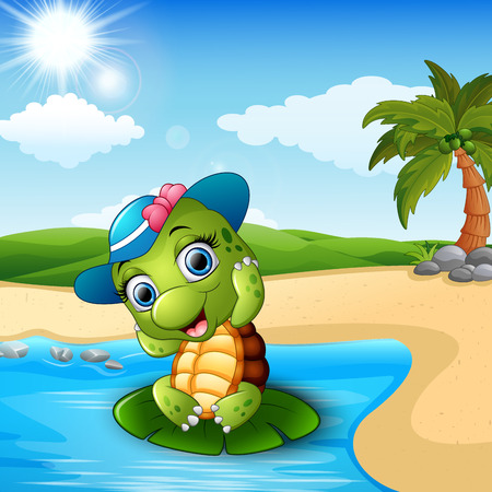 Cute baby turtle on the beach. Illustration