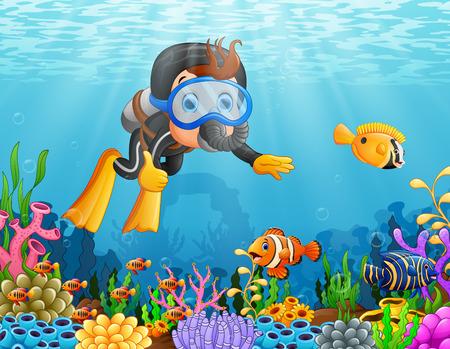 Cartoon boy diving in the sea. 矢量图像