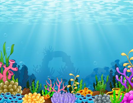 벡터 일러스트 레이 션의 열 대 산호초와 수 중 장면