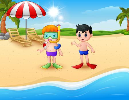 cartoon umbrella: Vector illustration of Snorkeling kids standing on beach