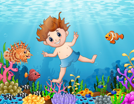 free diver: Vector illustration of Little boy diving in the sea