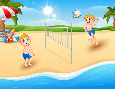 Vector illustration of Children playing volleyball at the beach Ilustração