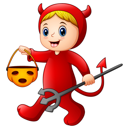 Vector illustration of Little girl in halloween red devil costume