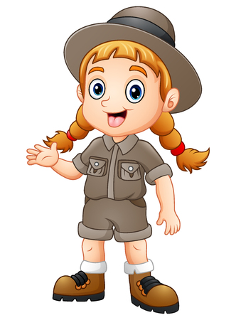Vector illustration of Girl explorer waving