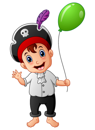 Vector illustration of Cartoon little pirate with green balloon