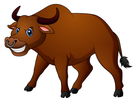 Vector illustration of Angry bull cartoon