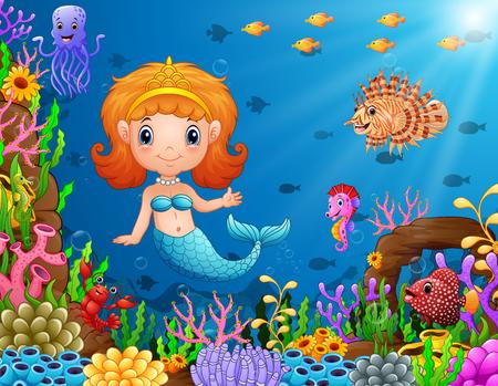 Vector illustration of Cartoon little mermaid underwater