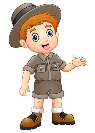 Vector illustration of Boy explorer waving