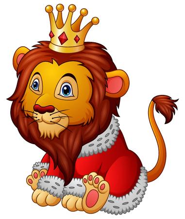 Vector illustration of Cartoon lion in king outfit Illusztráció