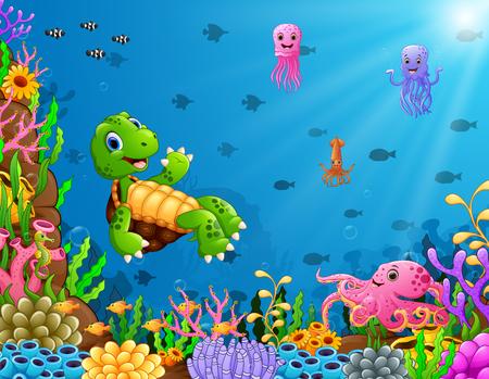 Vector illustration of Cartoon turtle and octopus underwater
