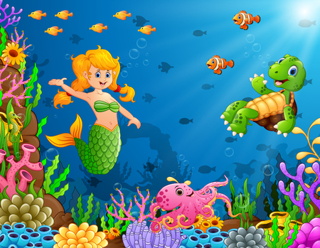 Cartoon mermaid underwater with turtle and octopus Stock Photo