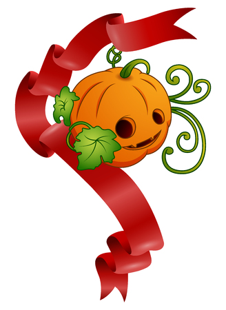 Vector illustration of Halloween pumpkin with red ribbons