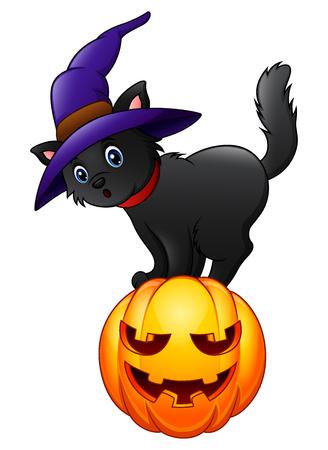 Black cat standing on a pumpkin. Illustration