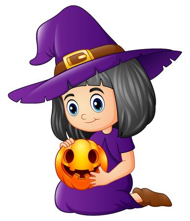 Vector illustration of Cartoon little witch holding a pumpkin Illustration
