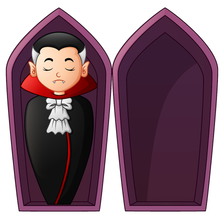 Vector illustration of Cartoon vampire in open coffins