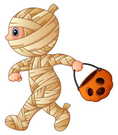 Vector illustration of Cartoon little mummy with pumpkin basket