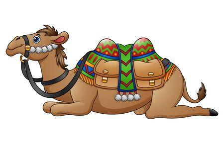 saddle camel: Cartoon camel with saddle Stock Photo