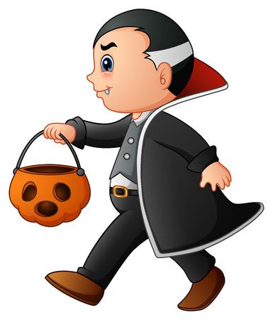Cartoon vampire with pumpkin basket