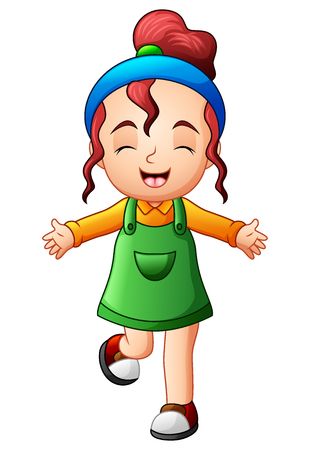 Vector illustration of Cute little girl smiling in jumpsuit