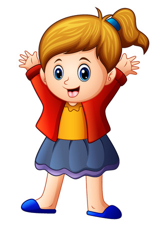 hands tied: Vector illustration of Little girl in red jacket