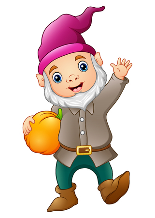 Vector illustration of Cute garden gnome with pumpkin Vettoriali